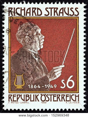 AUSTRIA - CIRCA 1989: A stamp printed in Austria issued for the 125th birth anniversary of Richard Strauss shows Richard Strauss (composer), circa 1989.