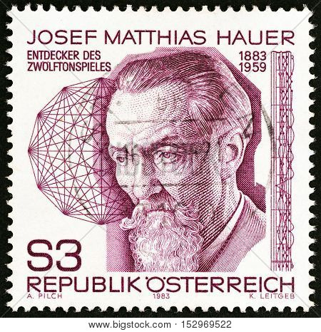 AUSTRIA - CIRCA 1983: A stamp printed in Austria issued for the birth centenary of Josef Matthias Hauer (composer) shows Josef Matthias Hauer, circa 1983.