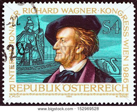AUSTRIA - CIRCA 1986: A stamp printed in Austria issued for the International Richard Wagner Congress, Vienna shows Wagner and Scene from Opera Lohengrin, circa 1986.