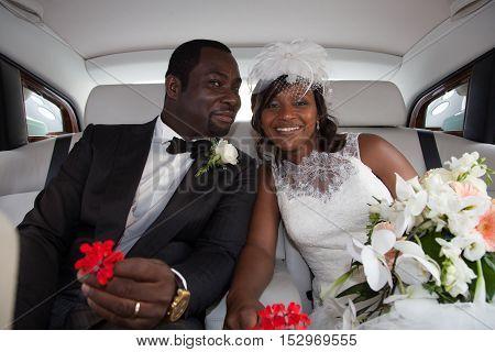 Happy Newlyweds Of Beautiful Bride Woman In Car