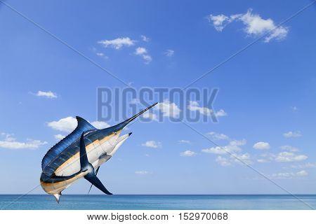 Marlin - SwordfishSailfish saltwater fish (Istiophorus) isolated on sea and sky background