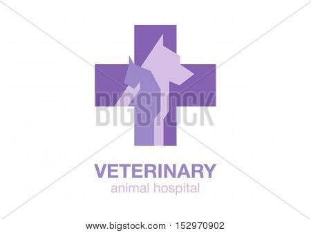 veterinary cross and pets on white background. flat logo. animal icon. symbol with dog and cat