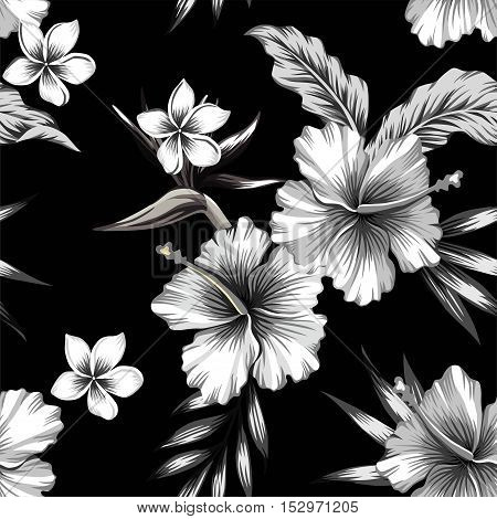 Tropic hibiscus flowers plumeria and bird of paradise in composition with banana palm leaves. Print trendy seamless floral summer vector pattern in black and white style
