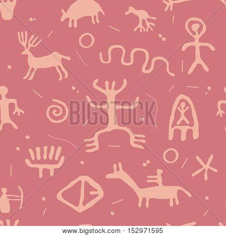 vector ancient cave petroglyphs, abstract  seamless pattern