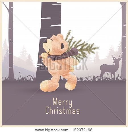 Merry Christmas and Happy New Year greeting card vector illustration. Forest background with text place. Teddy bear goes home with fir-tree.