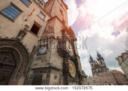 Prague Astronomical Clock (Orloj) in the Old Town of Prague.