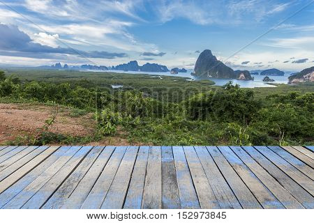 Wood floor with Samet-nang-she beautiful scenery new landmark in Phang nga Thailand