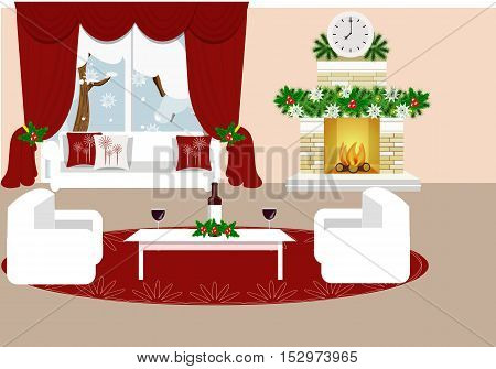 The interior of the living room. Christmas interior-vector illustration. Cartoon