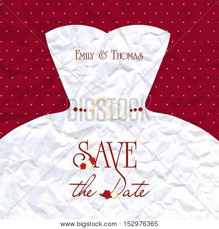 Vector wedding card or invitation. vintage. torn sheet of paper. save the date, roses, rings. wedding dress