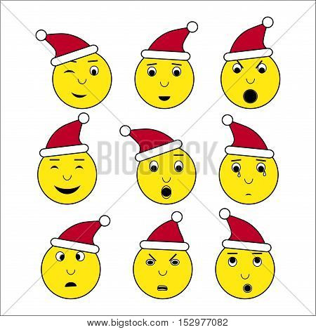 Emoticon in Santa's cap set. Yellow faces with different emotions for app site social media with new year theme. Vector illustration of smile surprise anger boredom and others