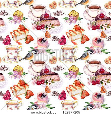 Tea pattern with flowers, tea cup, cakes, bird and butterflies. Food watercolor. Seamless background for teatime