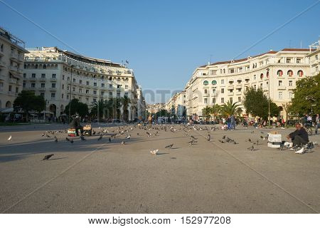 THESSALONIKI GREECE - SEPTEMBER 28 2016: Aristotelous Square Thessaloniki Greece. Aristotelous Square is the main city square of Thessaloniki and is located on the city's waterfront.