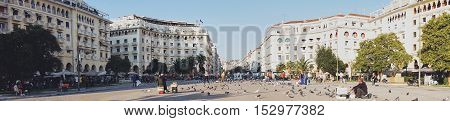 THESSALONIKI GREECE - SEPTEMBER 28: Aristotelous Square Thessaloniki Greece. Aristotelous Square is the main city square of Thessaloniki and is located on the city's waterfront.