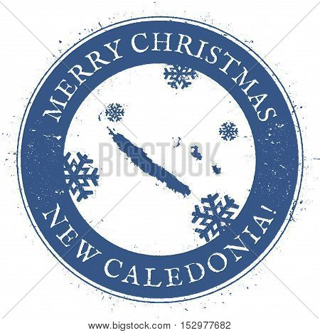 New Caledonia Map. Vintage Merry Christmas New Caledonia Stamp. Stylised Rubber Stamp With County Ma