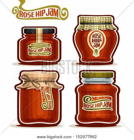 Vector logo Rose Hip Jam in Jars with paper lid, Pot home made Rosehip jams, twine rope bow, homemade rose hip fruit jam jar, rosehip berry jelly pot with label, checkered cloth cap, isolated on white
