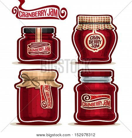 Vector logo Cranberry Jam in glass Jars with paper lid cover, red Pot home made cranberry jams, twine rope, homemade fruit jam jar, berry jelly pot with label, checkered cloth cap, isolated on white.