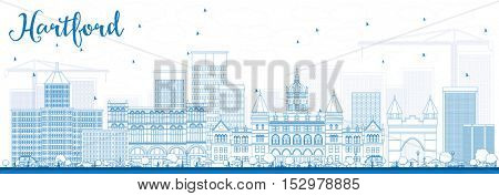 Outline Hartford Skyline with Blue Buildings. Business Travel and Tourism Concept with Historic Architecture. Image for Presentation Banner Placard and Web Site.