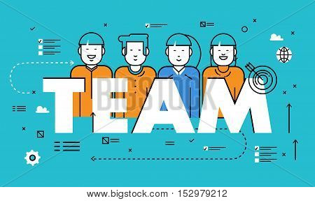 Line flat vector business design for team building, job candidate evaluation, assessment, recruiting, interviewing. Resources and corporate management, hiring, employment, jobs, career concept