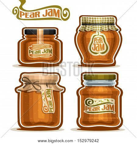 Vector logo Pear Jam in glass Jars with paper cover lid, rustic Pot home made pear jams, twine rope bow, set homemade fruit jam jar, farm jelly pot with label, checkered cloth cap, isolated on white.