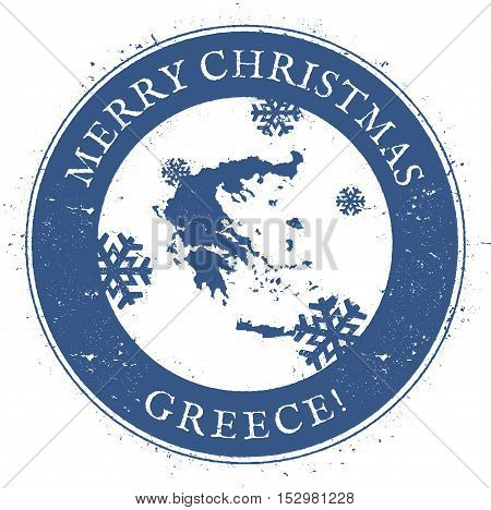 Greece Map. Vintage Merry Christmas Greece Stamp. Stylised Rubber Stamp With County Map And Merry Ch