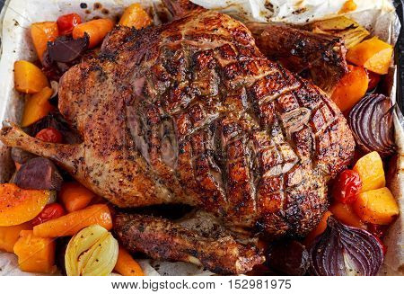 Close up Duck roast with baked vegetables.
