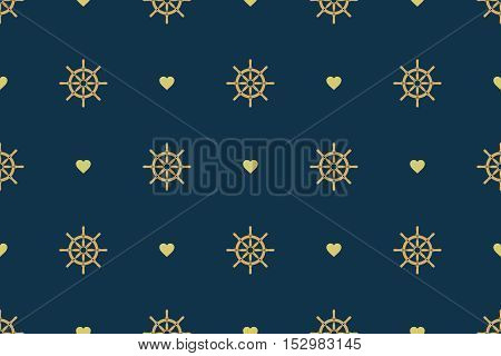Ship steering wheel seamless pattern. Boat helms and hearts repeating texture. Nautical background. Vector eps8 illustration.