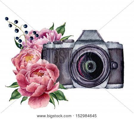 Watercolor photo label with peony flowers. Hand drawn photo camera with peonies, berries and leaves isolated on white background. For design, logo, prints or background.