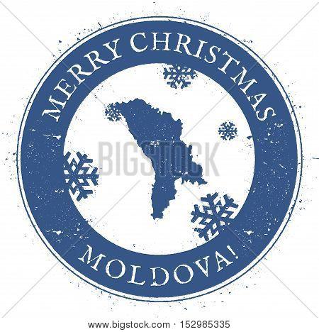 Moldova, Republic Of Map. Vintage Merry Christmas Moldova, Republic Of Stamp. Stylised Rubber Stamp