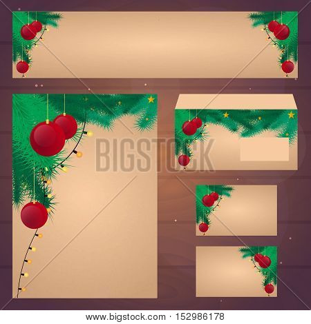 Corporate Christmas Design. Corporate Identity Template Design. Old Vintage Paper. Vintage Christmas