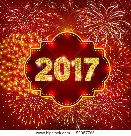 Christmas festive firework bursting in various shapes and golden and red colors sparkling against night background. Lettering 2017 with golden glitter. Vector illustration.