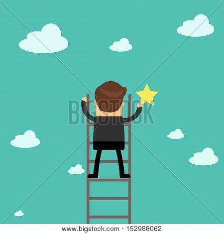 Businessman Reaching To The Star, Metaphor To Reaching To Goal Or Be Successful.