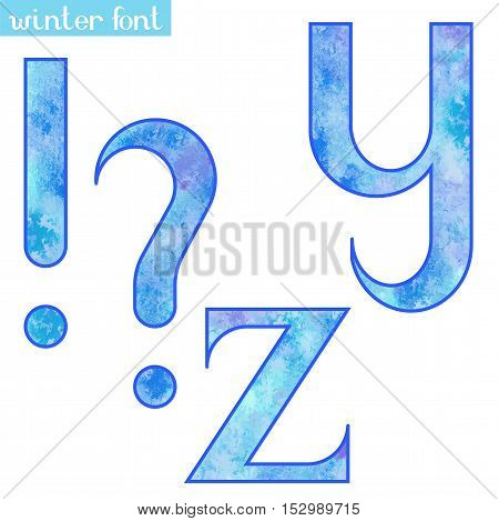 Colorful blue ice frozen watercolor paint alphabet letters Y, Z and punctuation marks - vector Illustration