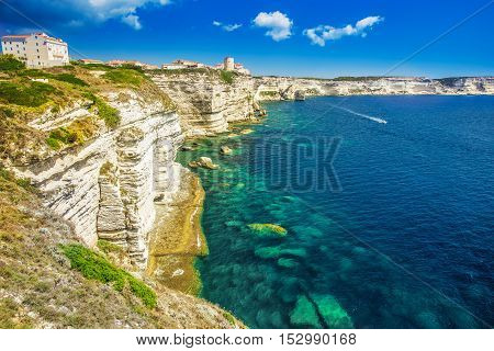Bonifacio Town On Beautiful White Rock Cliff With Sea Bay, Corsica, France, Europe.
