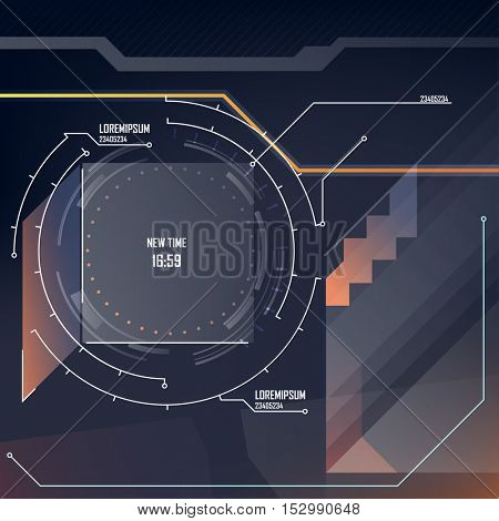 Motion Template for design - abstract HUD screensaver video.  Futuristic space thin HUD user interface. Game target navigation interface hud ui design