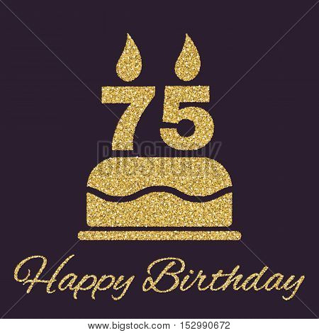 The birthday cake with candles in the form of number 75 icon. Birthday symbol. Gold sparkles and glitter Vector illustration
