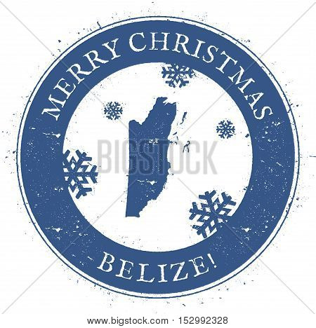Belize Map. Vintage Merry Christmas Belize Stamp. Stylised Rubber Stamp With County Map And Merry Ch