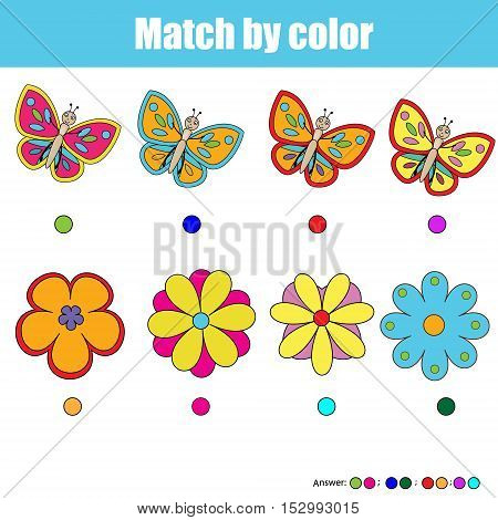 Matching pairs game for kids. Find the right pair for each butterfly and flower children educational game. Match by color activity. Insects theme