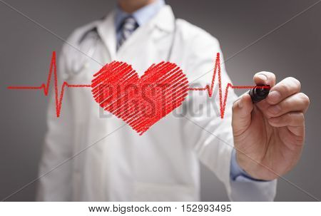 Doctor drawing ecg heartbeat chart with marker on whiteboard concept for healthcare and medicine