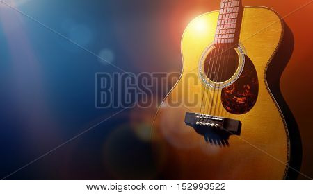 Guitar and blank grunge stage background with copy space for gig poster