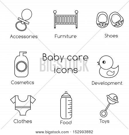 Baby care outline icons. Newborn baby clothes baby booties toys and other vector icons symbols. Design elements for applications shops stores and other business
