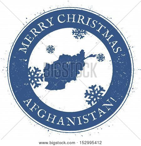 Afghanistan Map. Vintage Merry Christmas Afghanistan Stamp. Stylised Rubber Stamp With County Map An
