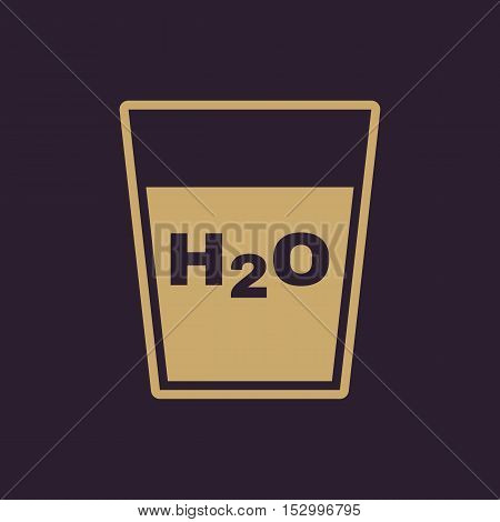 The H2O icon. Water and drink, aqua symbol. Flat Vector illustration