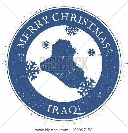 Iraq Map. Vintage Merry Christmas Iraq Stamp. Stylised Rubber Stamp With County Map And Merry Christ