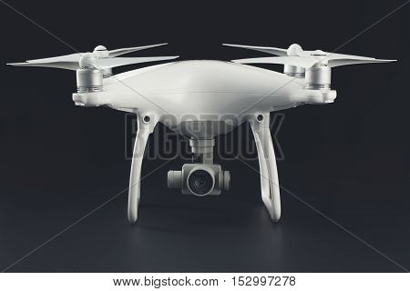 Varna Bulgaria - October 17 2016: Flying drone quadcopter Dji Phantom 4 Optimized Vision Positioning System isolated on black