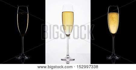 Champagne glasses on black and white backgrounds. Glass with shape