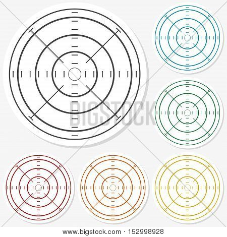 Multicolored paper stickers - Crosshair set vector