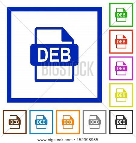 DEB file format flat color icons in square frames