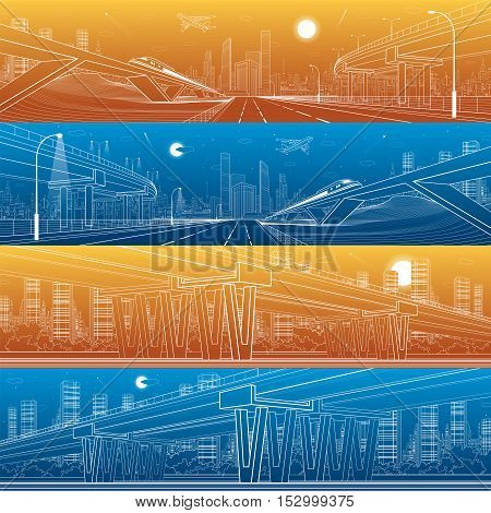 Architectural and infrastructure panorama set, transport overpass, highway, train move on the bridge, white lines urban scene, day and night city on background, vector design art