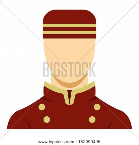 Doorman in red uniform icon. Flat illustration of doorman vector icon for web design