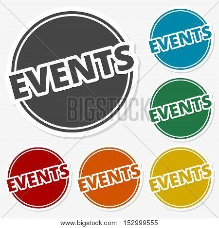 Multicolored paper stickers - Event icon vector